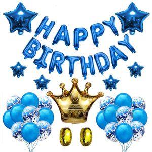 Mutlu Doğum Günü Balonlar Set Şişme Doğum Günü Ballon Doğum Günü Partisi Süslemeleri Çocuklar Bebek Duş Kız Balony Mektubu Globos XN SH190913
