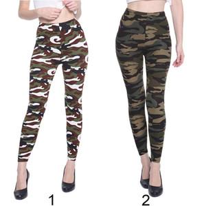 Moda İlkbahar Sonbahar Kadınlar Elastik Yüksek Bel Kamuflaj Baskı Pantolon Zayıflama Günlük Ayak bileği-Uzunluk Pantolon FS99