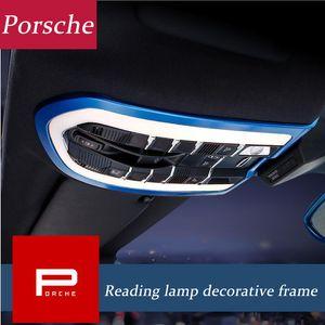 Car Styling Frente Inner Light Reading tampa decoração guarnição tiras telhado Interior Lâmpada Frames Para Porsche Macan Cayenne Panamera Acessórios