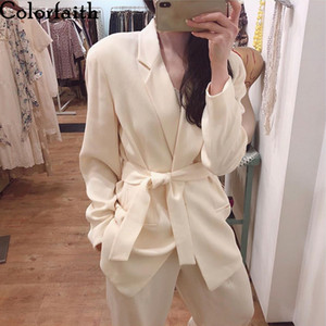 Colorfaith New 2019 Autumn Winter Women's Blazers Sashes Lace Up Formal Long Jackets Notched Outerwear England Style Tops JK158