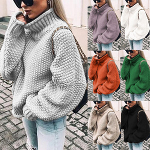 Femme Pull Casual Solide Solide Manches Longues Turtleneck Pull Casual Haute Qualité Jersey Mujer Pull Femme Nouveautée 2019 F1