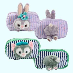 Cute Duffy Bear Friends Stellalou Gelatoni Plush Bags Rabbit Cat Doll Cosmetic Bag Soft Mini Bag Pencase for Girl birthday gifts