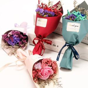 1 Bundle Mini Babysbreath Fiore secco Fiori Artificiali Rose Sapone Fiore Mini Wedding Bouquet decorazione floreale