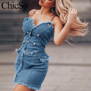 MissyChilli Chain denim bodycon Mini Vestido Azul Mulheres tassel jean vestido curto verão Roupa de rua sexy Festa Vestido de praia festa2020