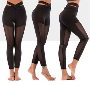 Empuje hacia arriba delgadas caderas Yoga Pantalones Negro Color de abrazo de la muerte de jogging Formación Mesh las polainas de los gimnasios de entrenamiento De Mujer Ropa 28 5LS E19