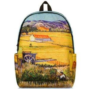 Кукурузное поле рюкзак Винсент Ван Гог урожай день пакет мешок школы краска пшеницы packsack печати рюкзак Спорт школьный открытый рюкзак