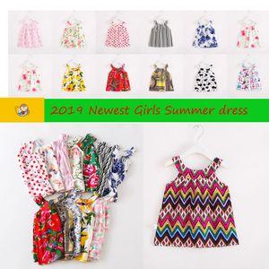 Designer Mädchenkleider Kinderkleider Kinder Mädchen Ärmellos Blumendruck Baumwolle und Leinen Blumenkleid Baby Mädchen Frühling Sommerkleider