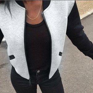 2018 Vente chaude Blouson Mode Femmes Vintage zipper Biker élégant manteau rembourré Zipper Top Chemisier Automne Manteaux d'hiver
