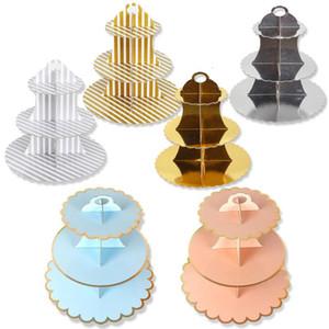 3 strati Cupcake stand accessori Holder rotonda di cartone Cupcake pieghevole del bambino Docce di compleanno della festa nuziale della Tabella Dessert