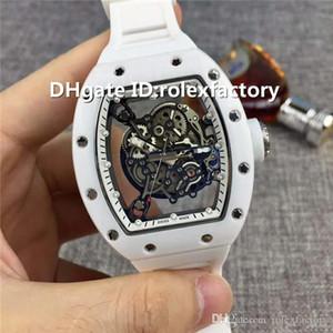 New Luxury 055 orologio antigraffio scheletro automatica Sapphire Crystal White Ceramic cinturino in caucciù fondello trasparente Mens Watch