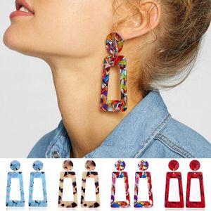 Résine colorée géométrique boucles d'oreilles creux carré lustre boucles d'oreilles Dangle bijoux de mode pour les femmes Drop Ship 350184