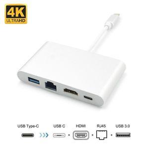 4 in 1 USB-C-Naben-Adapter USB 3.1 Typ C bis HDMI 4K Gigabit Ethernet RJ45 LAN USB 3.0 Multilport Digitatal Video Converter Typ-C-Adapter