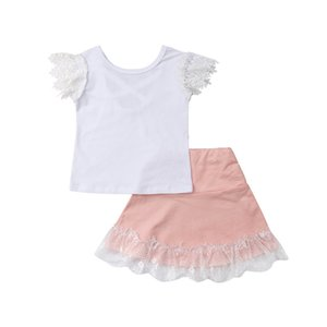 New Arrival 2019 Cute Kids Baby Girls Princess Lace Sleeve Tops+ Lace Edge Skirt 2pcs Outfit Set 0-5Y