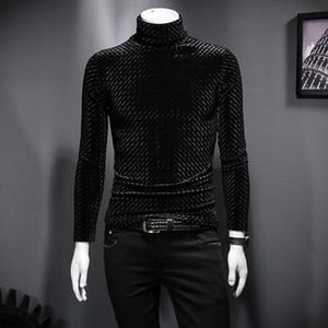 el oro de invierno de terciopelo de cuello alto versión coreana de la camiseta de los hombres de los auto-cultivo de la juventud salvaje, además de terciopelo que espesa la ropa camisa de tendencia