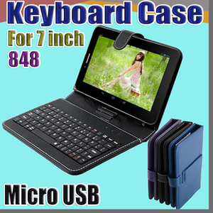848 Leather Case with Micro USB Interface Keyboard for 7 inch MID Tablet PC A-JP