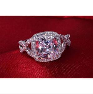 High Quality Wholesale 3 Karat Fine Diamond Wedding Ring Lasting Shine Engagement Ring Cushion Cut 925 Silver 18K White Gold Cover Ring
