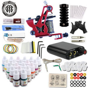 Permanent Makeup Machine Tattoo Beginner Kits 8 Wrap Coils Guns Tattoo MachineSet Black Pigment Sets Power Supply Tatto Supplies