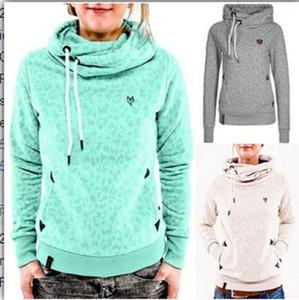 Maniche lunghe Stampato Pullover Hoodie Womens Abbigliamento casual modo delle donne O Collo con cappuccio L'autunno e l'inverno digitale