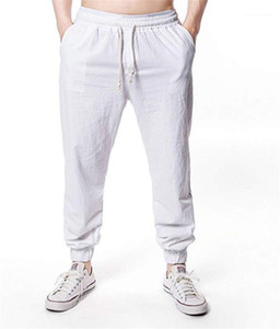 Plus Size Summer Mens Sport Linen Pants Breathable Hip Hop Casaul Streetwear High Street Fashion Belt Pencil Pants Solid Color Size M 3XL