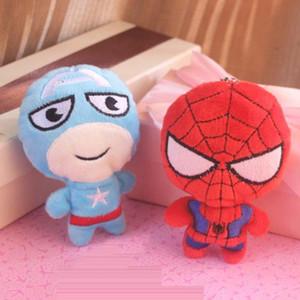 "4"" / 10 centimetri Ciondolo peluche Avengers Superhero peluche portachiavi IronnMan Spiderrman Captainn America del Hulkk portachiavi auto giocattoli farciti"