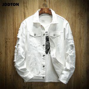 Hip casual de mezclilla otoño de moda chaquetas JDDTON hombres de la moda del Hip rasgado Abrigos Streetwear pantalones vaqueros del vaquero de vestir exteriores JE385 T200608