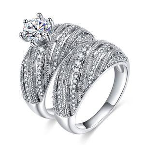 Женский Большой Кристалл Белое Кольцо Набор 925 Серебряный Бриллиант Обручальные Кольца Для Женщин Мода Свадебные Обручальное Кольцо