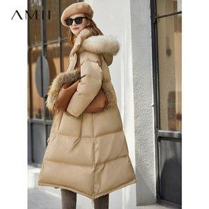 Collar Amii Minimalismo invierno de la piel de la chaqueta abajo cubre 11940550 causal de las mujeres largo grueso