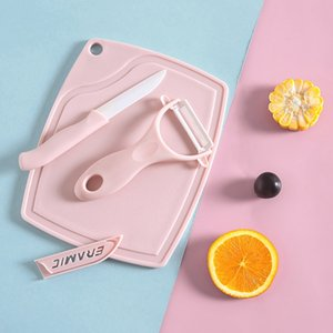 Environmentally Pu Ceramic Knife Set With Fruit Vegetable Peeler Cutting Board Plastic Chopping Blocks
