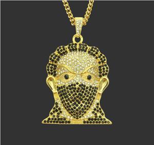 Европейские и американские тенденции моды хип-хоп личности ожерелье властная замаскированный голова кулон мужские высокого качества аксессуары кулон Jewe