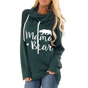 Mulheres de letra da cópia hooded Outono mangas compridas cordão Sueter casual tops mama urso camisetas T outwear LJJA3478-10