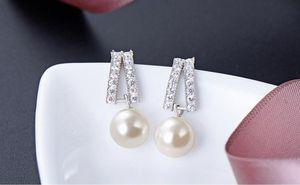 J199 Top quality women's S925 sterling silver pearl earrings SS925 dangler earring stud earrings earbobs factory supplier DDS1604