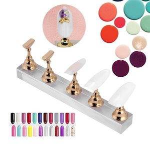 Falso Nail exibição Stand Holder Set, prego Prática Art Ouro Titular prego Magnetic Mostrando Shelf, Prego Prática Stand Holder, Manicure Nails Salo