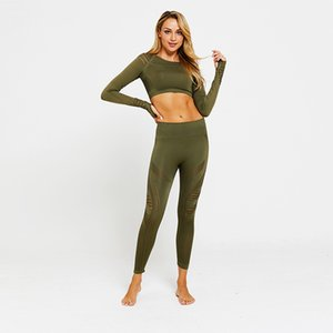 LANTECH 2 Pcs Suits Set Women Yoga Sets Gym Fitness Athletic Pants Sportswear Leggings Shirt Seamless Sports Hollow Out MX200329