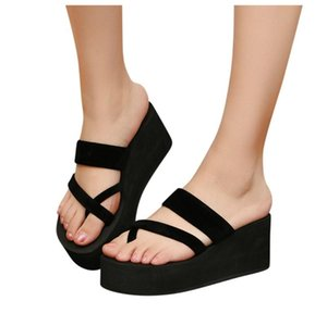 Flip-flops Verão Sandals Não-deslizamento das mulheres lisas Praia Chinelos salto alto Flock Material superior Rouned Toe Não Moer Pés # R10