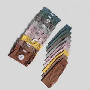 INS Toddler Kids Baby Boys Girls Pajamas Clothing Suits Spring Winter Sleepwear Navel Protected High Waist Blank Quality Chidlren Homewear