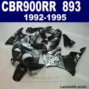 Customize paint fairing kit Honda CBR900RR CBR 893 1992-1995 black silver fairings set CBR 900 RR 09 10 11 CV34