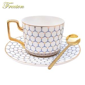 İskandinav Kemik Çin Coffee Cup Saucer Kaşık Seti 200ml İngiliz Cafe Porselen Çay Kupası Gelişmiş Seramik Teacup Nakliye Bırak