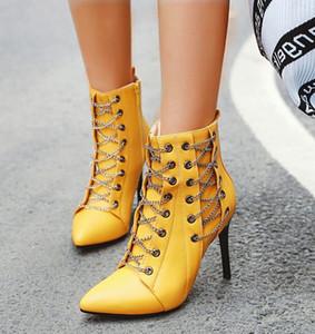 Più di formato 32 33 40 41 42 43 44 45 46 Sexy catena in metallo stiletto zip laterale tacco Stivaletti Nightclub Designer Shoes