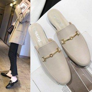 la nouvelle pantoufles talon carré moitié extérieur femmes pantoufles tête ronde chaussures mueller Baotou chaussures pour femmes en gros