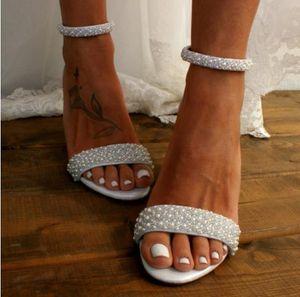 موضة الكعب الزفاف حذاء الزفاف اللؤلؤ الأبيض العاج العليا 11CM شاطئ بوهو أحذية الزفاف مضخات المساء حفلة موسيقية أنيقة