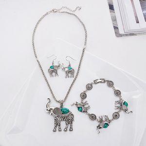 European and American exaggerated jewelry Posimiasson elephant set necklace bracelet earrings Three-piece set Imitation turquoise jewelry