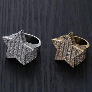Or blanc Hommes or 18K luxe bling Zircon Pentagram Hip Hop Bague Full Diamond Glacé Rapper Bijoux Cadeaux pour petit ami