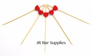 Handmade Cocktail Picks 100 Counts Cocktail Sticks Heart Frilled Toothpicks Party Supplies - Red