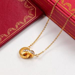 Collar de doble círculo colgante de oro rosa de plata con piedra de color para el collar de las mujeres de la vendimia joyería de fantasía con juego de caja original