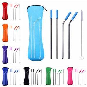 Straw Set in acciaio inox riutilizzabile in acciaio inox paglia esterna metallo Cannucce Set Bent cannucce con Brush Set Bere della copertura del silicone DHE316