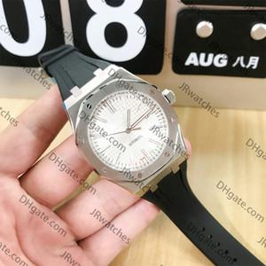 los hombres calientes relojes para hombre negro de caucho especiales de marcación banda de oro de acero inoxidable automática 15710ST mecánica sumergible 30 metros reloj