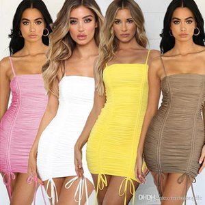 Les femmes S plissés Bandage Robe chemise Vêtements femme Designer sashed Crayon Robes femme Hip jupe robe