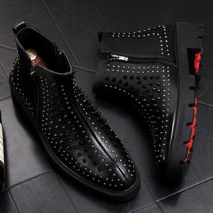 İtalyan Erkekler Moda Parti Gece Kulübü Elbiseler Ayakkabı Ayak Bileği Çizmeler İnek Deri Perçin Ayakkabı Platformu Botas Zapatos Bota