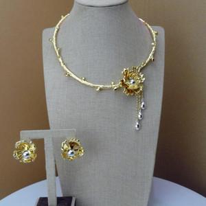 La joyería Yuminglai diseño único Dubai oro collar y pendientes FHK7363