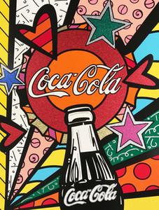Romero Britto Karikatür Soyut Sanat Coca-Cola, Tuval Modern Ev Sanat Dekor üzerinde Yağlıboya Resim Üreme Yüksek Kaliteli Giclee Baskı